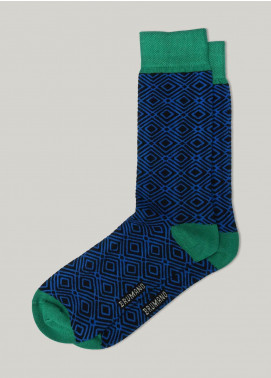 Brumano Cotton Socks BM20CSK Royal Blue & Green Geo Patterned Cotton Socks