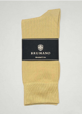 Brumano Cotton Socks BM20SK Beige Mercerized Patterned Socks
