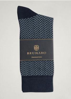 Brumano Cotton Socks BM20SK Blue Herringbone Mercerized Socks