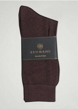 Brumano Cotton Socks BM20SK Brown Mercerized Patterned Socks