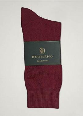 Brumano Cotton Socks BM20SK Maroon Mercerized Patterned Socks