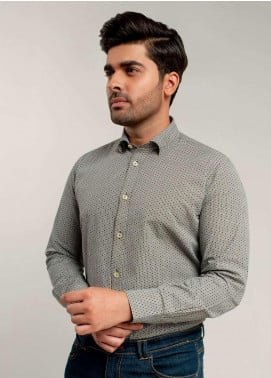 Brumano Cotton Formal Shirts for Men -  BM20SH Black & White Geometric Printed Shirt