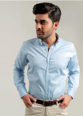 Brumano Cotton Formal Shirts for Men -  BM20SH Blue Fine Twill Shirt With Grey Elbow Patch
