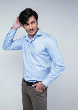 Brumano Cotton Formal Shirts for Men -  BM20SH Blue Houndstooth Structured Fabric