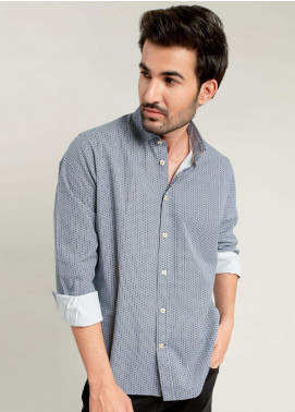 Brumano Cotton Formal Men Shirts -  BM20SH Navy & White Geometric Printed Shirt