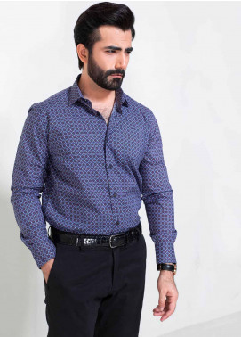 Brumano Cotton Formal Men Shirts -  BM20SH Purple Geometric Printed Shirt