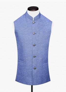 Brumano Cotton Formal Waistcoat for Men -  BM20WC Blue Linen Structured Waistcoat