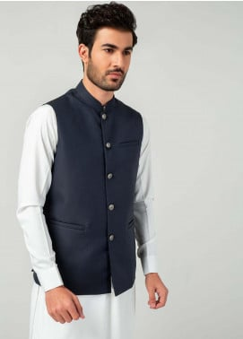 Brumano Cotton Formal Men Waistcoat -  BM20WC Blue Waistcoat With Silver Buttons