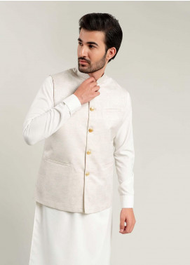 Brumano Cotton Formal Waistcoat for Men -  BM20WC Cream Jacquard Waistcoat
