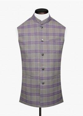 Brumano Cotton Formal Men Waistcoat -  BM20WC Khaki Wool Checkered Waistcoat