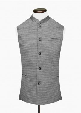 Brumano Cotton Formal Men Waistcoat -  BM20WC Light Weight Grey Jacquard Waistcoat