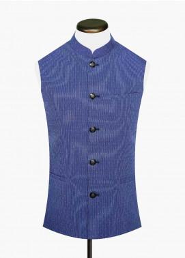 Brumano Cotton Formal Waistcoat for Men -  BM20WC Navy Blue Dobby Waistcoat