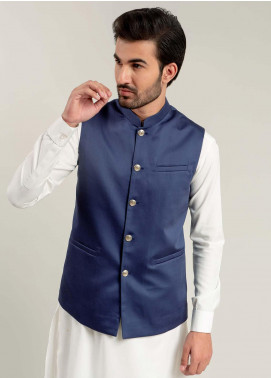 Brumano Cotton Formal Waistcoat for Men -  BM20WC Royal Blue Satin Waistcoat
