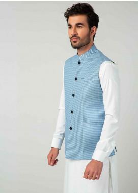 Brumano Cotton Formal Men Waistcoat -  BM20WC Turquoise Blue Patterned Waistcoat