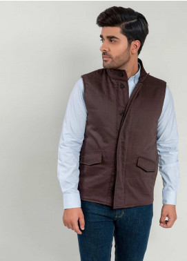 Brumano Polyester Sleeveless Men Jackets -  BM20WJ Auburn Sleeveless Herringbone Jacket