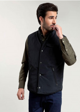 Brumano Polyester Sleeveless Men Jackets -  BM20WJ Black Sleeveless Jacket With Buttons
