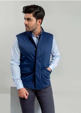 Brumano Polyester Sleeveless Jackets for Men -  BM20WJ Blue Sleeveless Herringbone Jacket