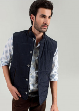 Brumano Cotton Sleeveless Jackets for Men -  BM20WJ Navy Blue Quilted Sleeveless Vest With Leather Detailing