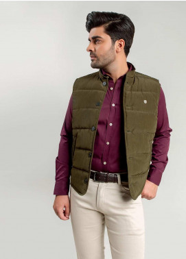 Brumano Polyester Sleeveless Jackets for Men -  BM20WJ Olive Quilted Sleeveless Vest With Leather Detailing