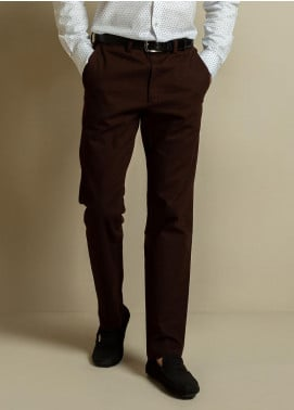 Brumano Cotton Formal Trousers for Men -  BM20WP Dark Brown Structured Trouser