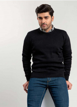 Brumano Cotton Full Sleeves Sweaters for Men -  BM20WS Black Textured Crew Neck Sweater