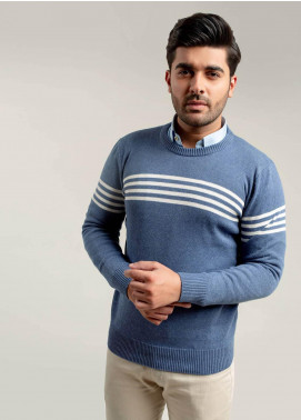 Brumano Cotton Full Sleeves Sweaters for Men -  BM20WS Blue & White Striped Crew Neck Jumper