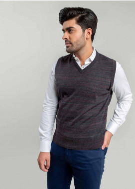 Brumano Cotton Sleeveless Sweaters for Men -  BM20WS Charcoal Patterned Sleeveless V-Neck Sweater