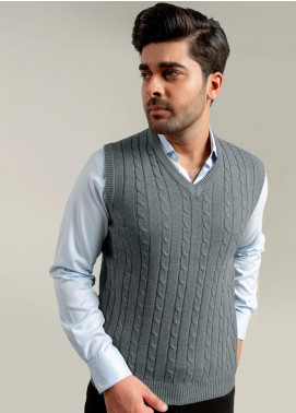 Brumano Acrylic Sleeveless Sweaters for Men -  BM20WS Grey Sleeveless Cable Knitted Sweater