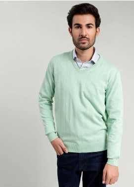 Brumano Cotton Full Sleeves Sweaters for Men -  BM20WS Mint Green V-Neck Sweater