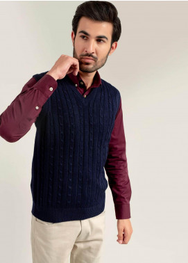 Brumano Acrylic Sleeveless Men Sweaters -  BM20WS Navy Blue Sleeveless Cable Knitted Sweater