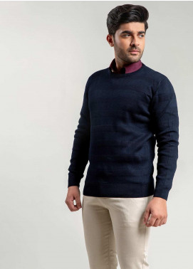 Brumano Cotton Full Sleeves Men Sweaters -  BM20WS Navy Blue Textured Crew Neck Sweater