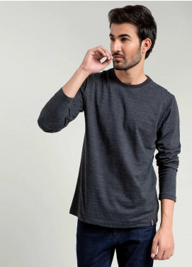 Brumano Cotton Full Sleeves T-Shirts for Men -  BM20WT Charcoal Neppy Long Sleeve T-shirt