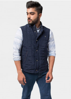 Brumano Polyester Sleeveless Men Jackets - Navy Blue BRM-12-1003