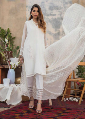 Sheep Casual Chiffon Stitched 2 Piece Suit SH20CR BS200302 Ivory