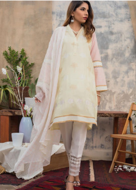 Sheep Casual Cotton Net Stitched 2 Piece Suit SH20CR SC300044 Lemon
