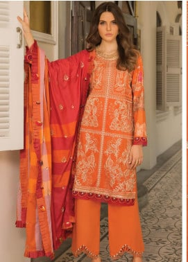 Carnation by Rang Rasiya Embroidered Lawn Unstitched 3 Piece Suit RR20C D-122 Tangerine - Luxury Collection