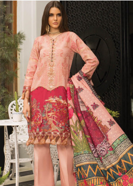 Carnation by Rang Rasiya Embroidered Lawn Unstitched 3 Piece Suit RR20C D-125 Indigenous Rose - Luxury Collection