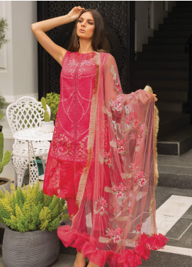 Carnation by Rang Rasiya Embroidered Lawn Unstitched 3 Piece Suit RR20C D-131 Chateau Rose - Luxury Collection