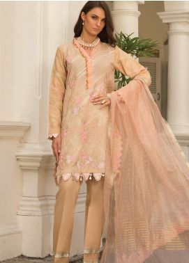 Carnation by Rang Rasiya Embroidered Lawn Unstitched 3 Piece Suit RR20C D-132 Ecru - Luxury Collection