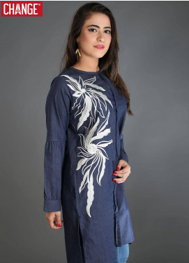 Change Embroidered  Stitched Kurtis CB53 BLUE