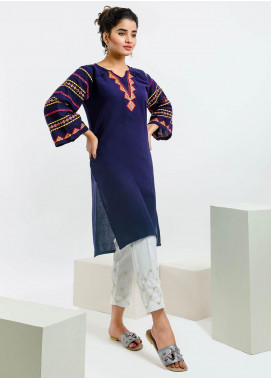 Change Embroidered Georgette Stitched Kurtis CB-73 Navy