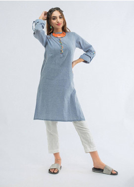 Change Embroidered Chambray Stitched Kurtis CB-77 Blue