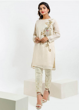 Change Embroidered Cotton Net Stitched Kurtis CK2125 Beige