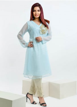 Change Embroidered Chiffon Stitched Kurtis Ck2127 Blue