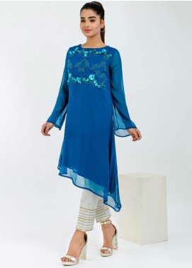 Change Embroidered Chiffon Stitched Kurtis CK2128 Teal