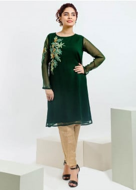 Change Embroidered Chiffon Stitched Kurtis Ck2129 Green