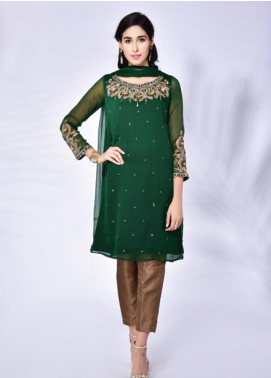 Change Embroidered Chiffon Stitched 3 Piece Suit CK2139 Green