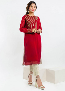 Change Embroidered Chiffon Stitched Kurtis CK2140 Maroon