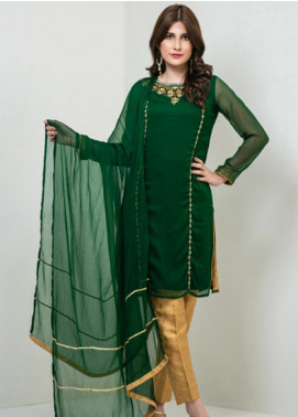 Change Embroidered Chiffon Stitched 3 Piece Suit CK2143 Bottle Green