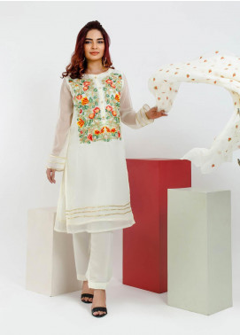 Change Embroidered Chiffon Stitched 3 Piece Suit CK2150 Ivory